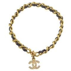 Chanel Iconic Black and Gold Chain Anklet / Bracelet