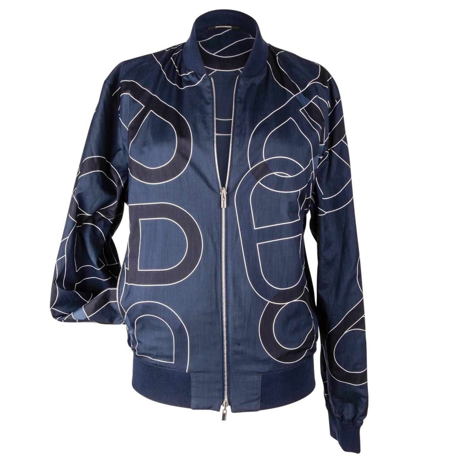 Hermes Men's Jacket Chaine D'Ancre Design Blue Reversible Windbreaker 50 nwt