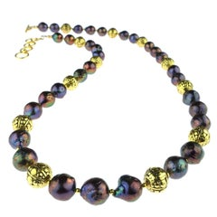 Gemjunky Orange/Purple/Bronze Pearl Necklace with Sparkling Brass accents