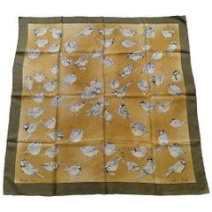 Hermès Les Mesanges Tit Birds Xavier de Poret Silk Scarf, 1960