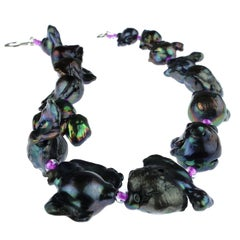 Iridescent Fireball Purple Choker Necklace