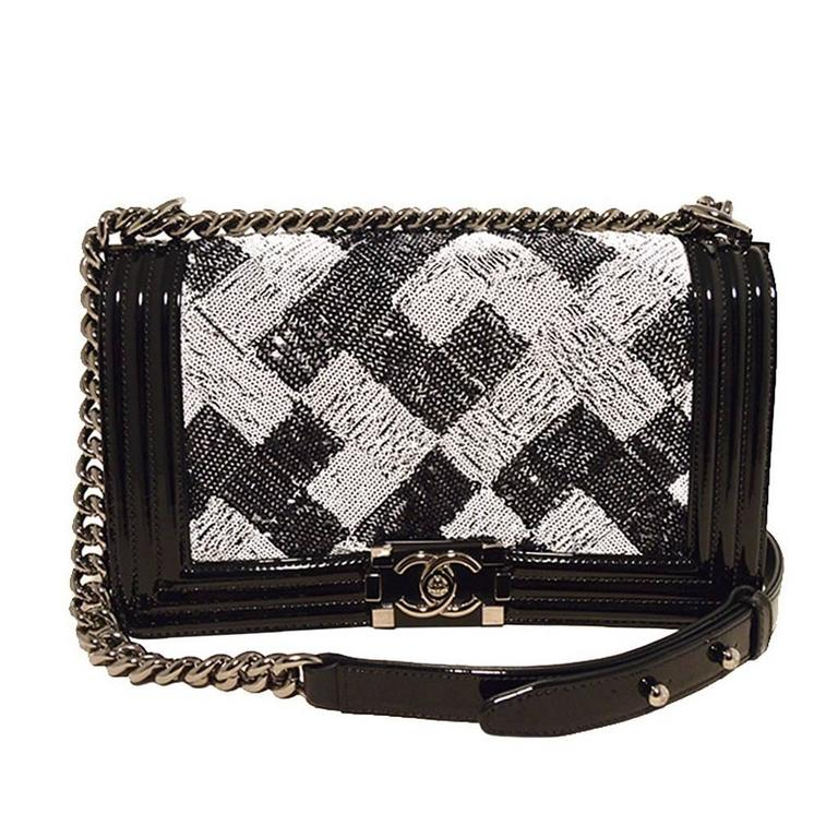 8481dd55ca9d Chanel Sequin Black Patent Leather Classic Flap Boy Bag For Sale at ...