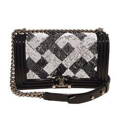 Chanel Sequin Black Patent Leather Classic Flap Boy Bag