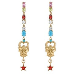 Dangling Earrings with Satyr face colorful stones from IOSSELLIANI