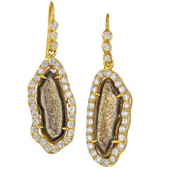 One of a Kind Inlaid Gold Crystal Geode Shimmering Diamond Drop Earrings