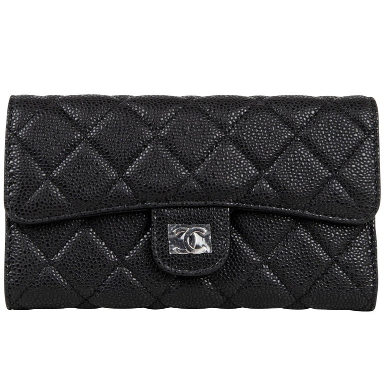 eb3fcbb515bb5b Chanel Wallet Classic Long Black Caviar Leather New at 1stdibs