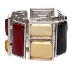 1980s Yves Saint Laurent Silver Mondrian Glass Bracelet