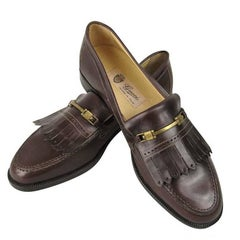 1970s Brown Gucci Fringed Loafer Shoes New Never Worn