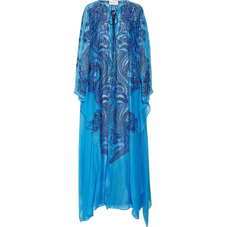 Stunning Blue Emilio Pucci Lace Up Maxi Kaftan Dress For Sale