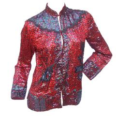 Exotic Silk Beaded Sequined Crimson Evening Jacket c 1980