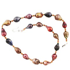 """Gemjunky Elegant Baroque Whimsical Deep-Tone Multi-Colored Pearl 19"""" Necklace"""