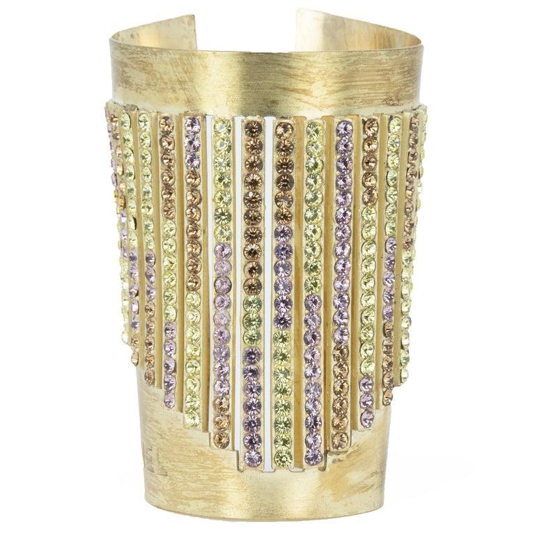 Chanel Gold Cuff with Multicolored Rhinestones For Sale