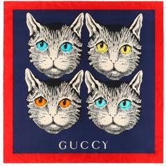 """GUCCI Cruise 2018 Guccy """"Foulard Forcats Mystic Cat"""" Silk Scarf NWT"""