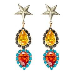 Iosselliani Gold Dangling Stars Earrings