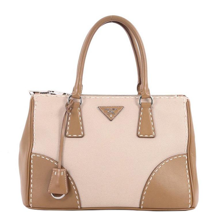 Prada Double Zip Convertible Tote Stitched City Calfskin and Canvas Small