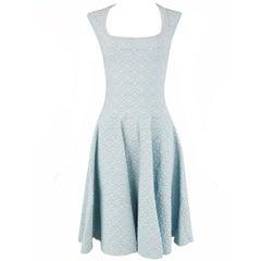 Alaia Light Blue Cap Sleeve Fit & Flare Dress - Size FR 40