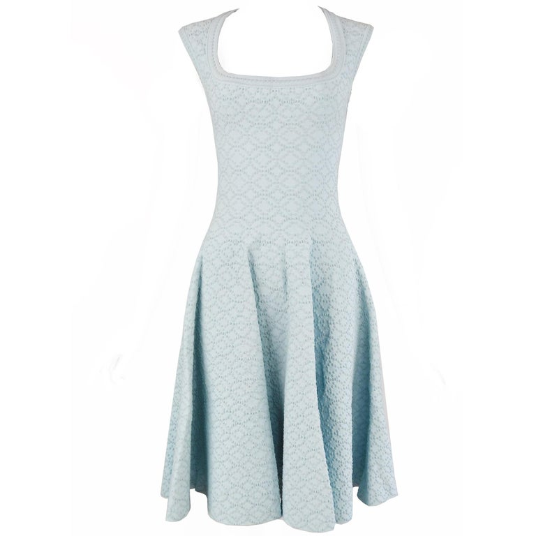 Alaia Light Blue Cap Sleeve Fit & Flare Dress For Sale