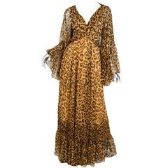 Christian Dior Silk Leopard Gown