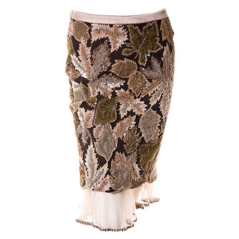 Valentino Embellished Floral Skirt