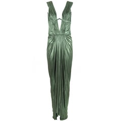 Roberto Cavalli Green Metallic Low V Neck Gown - IT 40