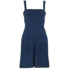Chanel Navy Tweed Sleeveless Dress - Size FR 36