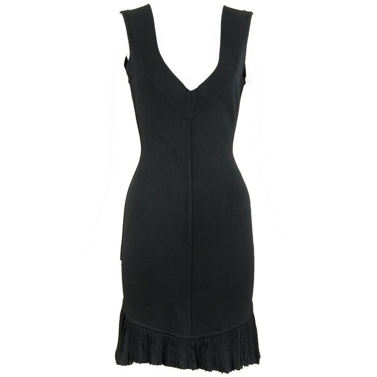 Vintage Alaia Black Knit Pleated Dress - Size XS For Sale