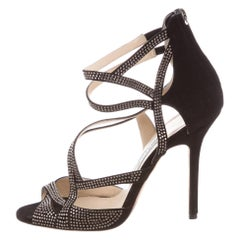 Jimmy Choo NEW Black Suede Crystal Cut Out Evening Sandals Heels