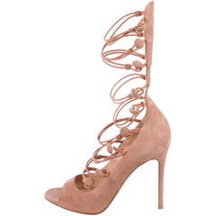 1bf2185bfb13 Gianvito Rossi NEW Blush Suede Button Up Gladiator Evening Heels Sandals in  Box