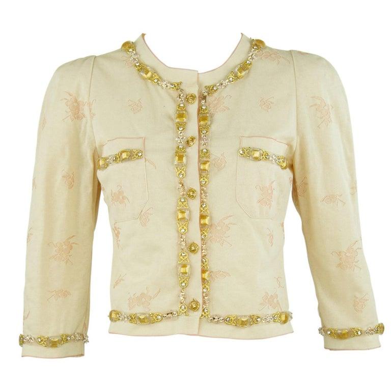 Vintage Chanel Peach & Gold Cardigan - FR 38 For Sale