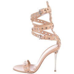 Gianvito Rossi NEW Nude Leather Silver Evening Heels Sandals in Box
