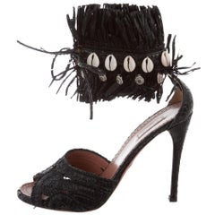 ALAIA NEW Black Woven Snakeskin Shell Ankle Evening Sandals Heels