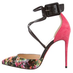 Christian Louboutin NEW Pink Suede Patent Floral Pointy Evening Pumps Heels