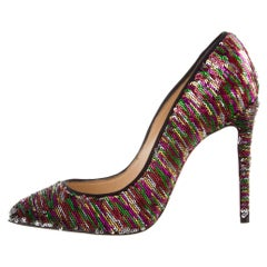 Christian Louboutin NEW Multi Color Woven and Sequin Evening Heels Pumps