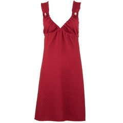 Chanel Red Tweed Sleeveless Dress - Size FR 40