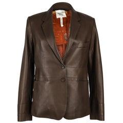 Hermes Jacket Brown Lambskin Silk Scarf Print Interior Blazer 38 / 8 New