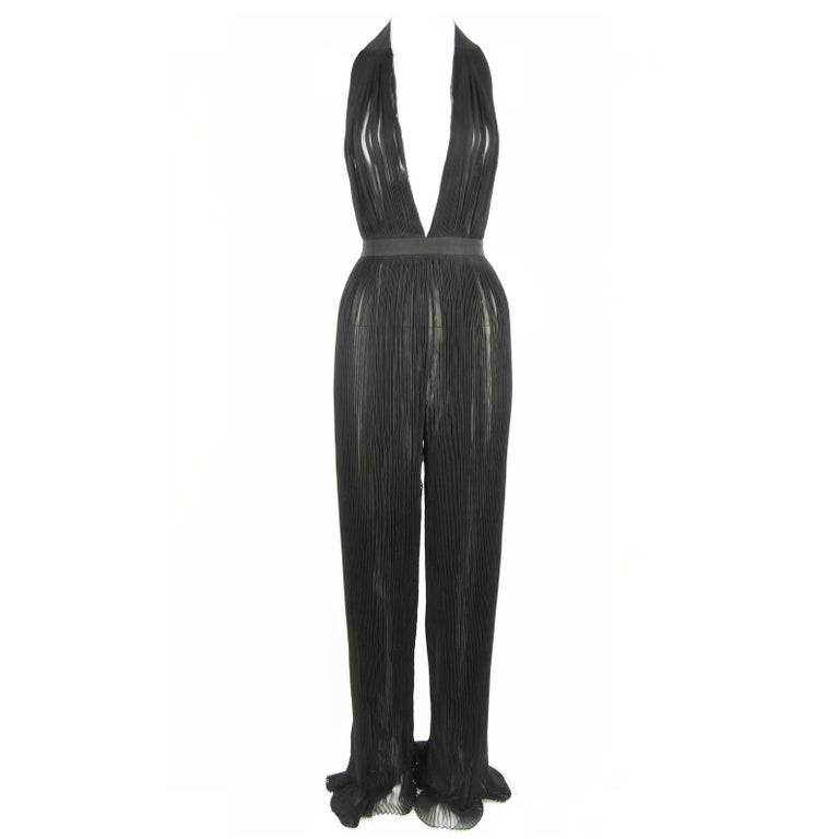 7ff7d492047 Balmain Black Pleated Jumpsuit - Size FR 34 For Sale at 1stdibs