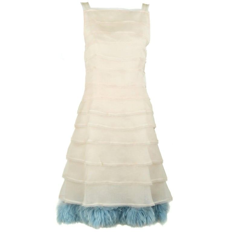 Fendi Peach Organza Dress with Blue Fur Detail - Size IT 38 For Sale