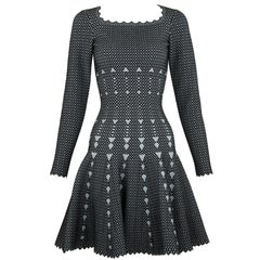 Alaia Black and Gray Knit Jacquard Fit & Flare Dress - Size FR 36