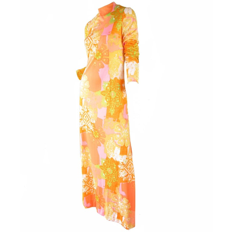Anne Fogarty Floral Print Gown, 1970s