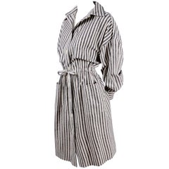 Vintage Oleg Cassini Raw Silk Dress in Gray & White Stripes w/ Drawstring Waist