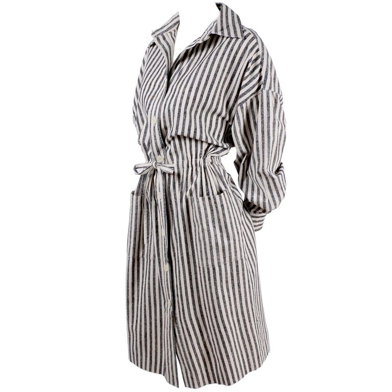 8b66d5a9fa Vintage Oleg Cassini Raw Silk Dress in Gray and White Stripes w  Drawstring  Waist For Sale at 1stdibs
