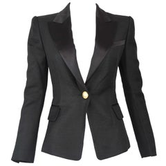 Balmain Black Pique Blazer with Satin Collar - Size FR 34