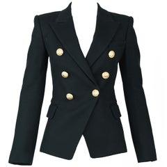 Balmain Black Pique Double Breasted Blazer - Size FR 34
