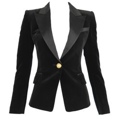 Balmain Black Velvet Blazer with Satin Collar - Size FR 34