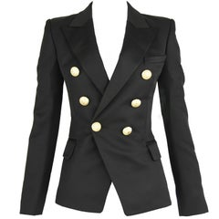 Balmain Black Wool Double Breasted Blazer - Size FR 34