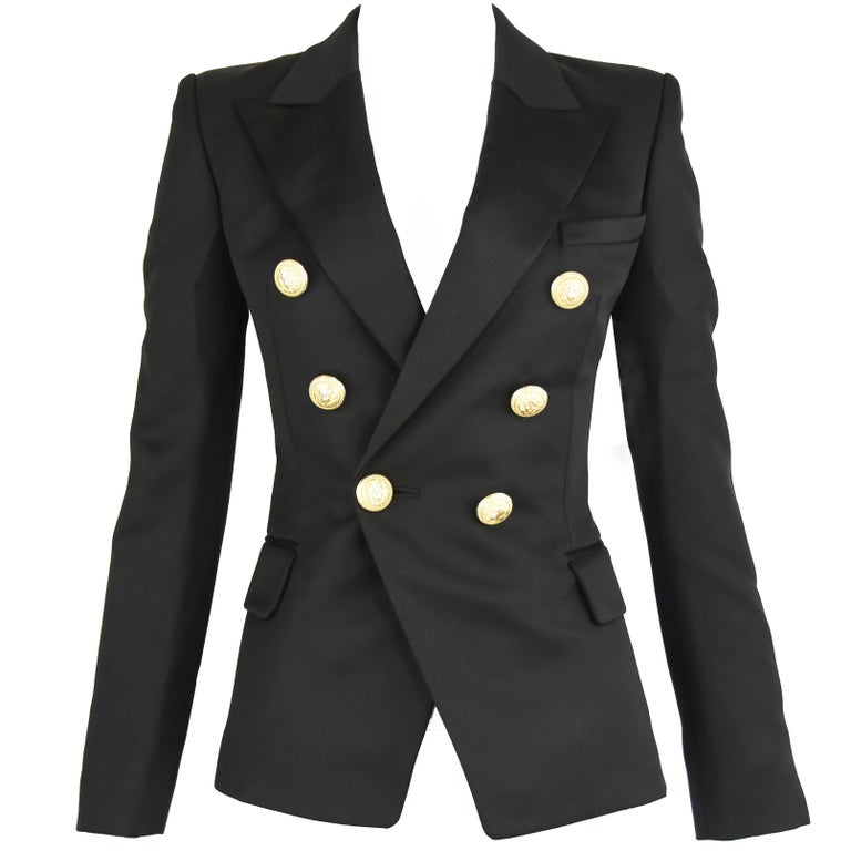 6fe8172d Balmain Black Wool Double Breasted Blazer - Size FR 34 For Sale at ...