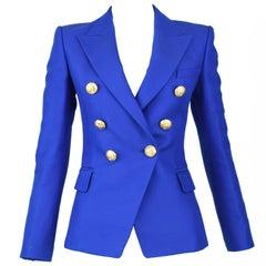Balmain Cobalt Double Breasted Blazer - Size FR 34