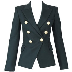 Balmain Dark Green Pique Double Breasted Blazer - Size FR 34