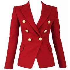Balmain Dark Red Pique Double Breasted Blazer - Size FR 34