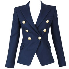 Balmain Navy Pique Double Breasted Blazer - Size FR 34